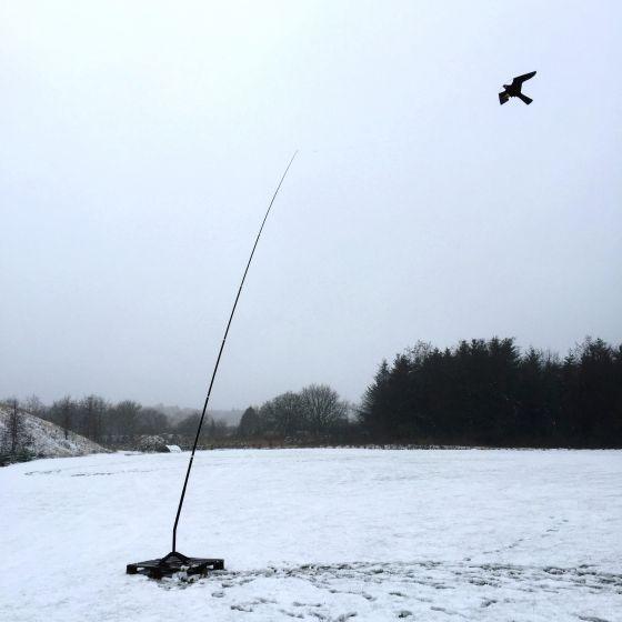 Hawk bird scarer with 7 meter telescopic pole, 27 m/s wind.