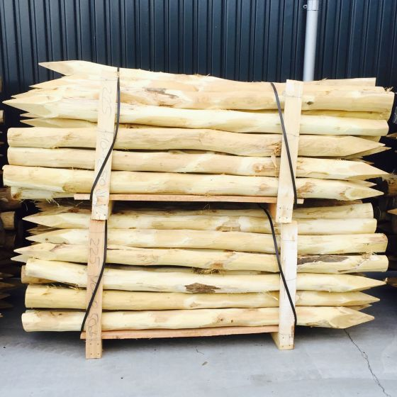Acacia poles stakes debarked pointed