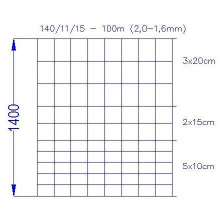 Wildlife Fence / Field Fence, 140/11/15 3-2 100m