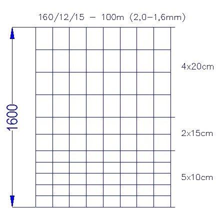 Wildlife Fence / Field Fence, 160/12/15-100m